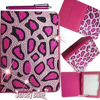 "Jersey Bling® BLING Universal Kindle Fire 7"" HD 1st & 2ND GEN, HDX, NON-HD, Crystal and Rhinestone Faux Leather Case with Built-In Stand, FREE Stylus (PINK CHEETAH)"
