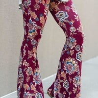 Cher Printed Flare Pants - Dreamy Ruby