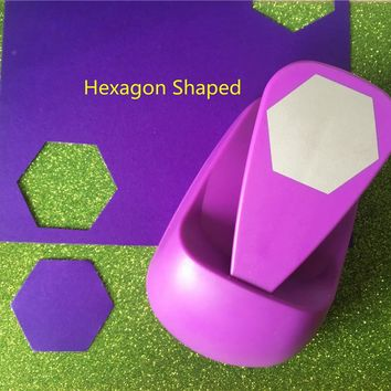 Free Shipping big hexagon shaped save power paper/eva craft punch Scrapbook Handmade punchers DIY hole punches graph puncher