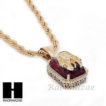 "STAINLESS STEEL ICED OUT RUBY KING-TUT CZ PENDANT 24"" ROPE CHAIN NECKLACE NP022"
