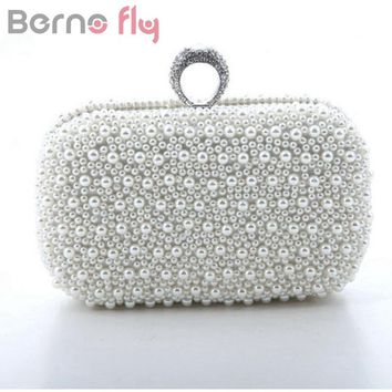 Berno fly Brand Fashion Women Evening Clutch Bag Gorgeous Pearls Crystal Beading Bridal Wedding Party Bags CrossBody Handbags