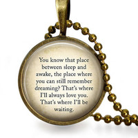 Peter Pan Quote Glass Tile Pendant Necklace J.M. Barrie Fairy Tale Jewelry