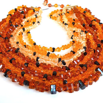 Amber Lucite Multi Strand Necklace, Faceted Barrel Beads, Vintage