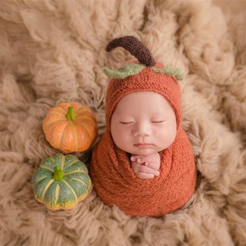 Cute Knitted Newborn Hat Lovely Pumpkin Hat Crochet Baby Boy Girl Bonnet Newborn Hat and Wrap Set Photography Props