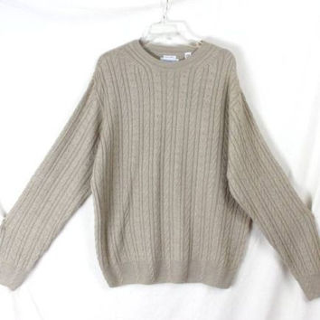 Alex Cannon L size Mens Beige Cable Sweater Soft Merino Blend Lightweight Wool