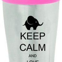 Keep Calm and Love Elephants 16oz Insulated Stainless Steel Travel Mug