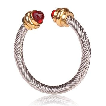 Style Cable Bracelet Polished Gold with Red Crystal Gem