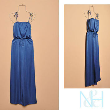 Vintage 1970s Blue Bell-Bottom Jumpsuit with Adjustable Straps