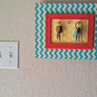 Chevron/ Polka Dot Frame Key Holder ll Wall Decor ll 3 Hooks ll Decorative Key Rack ll Yellow, Coral, Teal