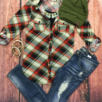 Penny Plaid Flannel Top: Green/Red