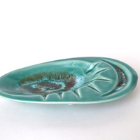 Mid Century Ashtray Glazed Pottery Atomic Style Aqua