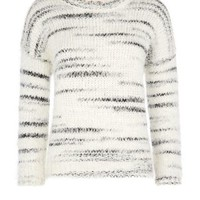 New Look Mobile | Cream Faded Stripe Fluffy Jumper