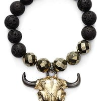Women's Lead Bull Skull Beaded Stretch Bracelet