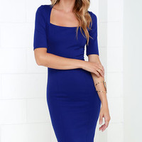 Elevated Royal Blue Bodycon Midi Dress
