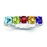 Sterling Silver & 14k Five-stone and Diamond Mother's Ring Semi-Mount QMR21/5