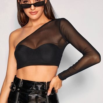 Sheer Mesh One Shoulder Crop Top Without Bra