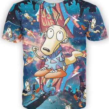 Rocko's Rockverse T-Shirt 90'S Nickelodeon Cartoon T-Shirts Galaxy Space Wallaby Haut Femme Women/Men