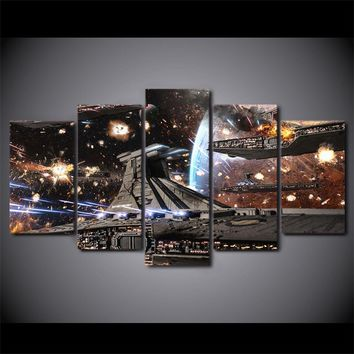 5 PCS Pieces Panel Printed Star Wars Movie Spaceship Tableau Wall Art Canvas Pic