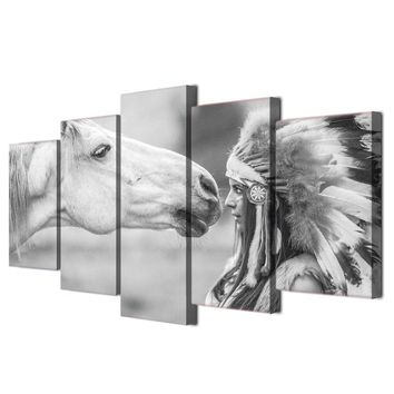 White Horse and Indian Gray and White Wall Art Canvas Panel Wall Decor Poster