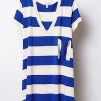 Stripe Range V-Neck by Bordeaux Blue Motif M Tops