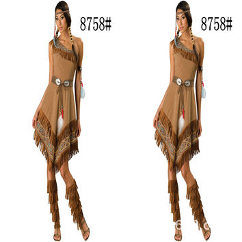 2016 Special Offer Rushed Native American Costume Adult Indian Princess Pocahontas Halloween Fancy Dress Nc-8758