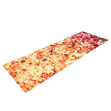 "Ebi Emporium ""Flower Power in Orange"" Red Floral Yoga Mat"