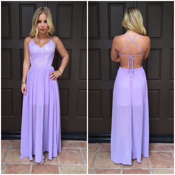 Timeless Beauty Crochet Maxi Dress - Lavender