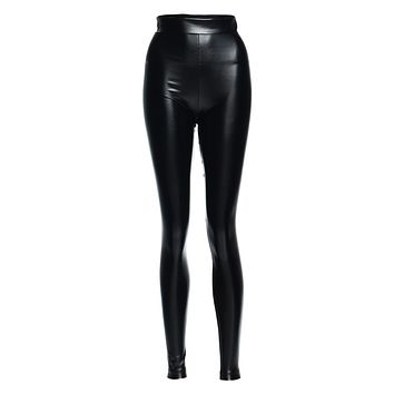 All Night Thing Black PU Faux Leather Elastic High Waisted Skinny Leggings