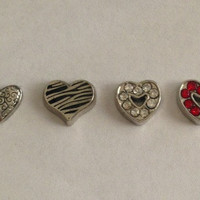 Floating charms for living memory lockets -scroll heart, zebra heart, crystal open heart, red crystal open heart - Valentine's Day