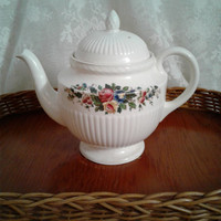 Wedgwood Edme Conway Teapot, Pedestal,  Floral Swag Design, Creamy White Ribbed Porcelain, Classic English Teapot, Six Cup Pot, 1950s