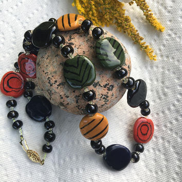 Bohemian Ceramic Necklace Vintage Red Yellow Green Black Geometric Necklace With Handmade Painted Ceramic and Glass Beads