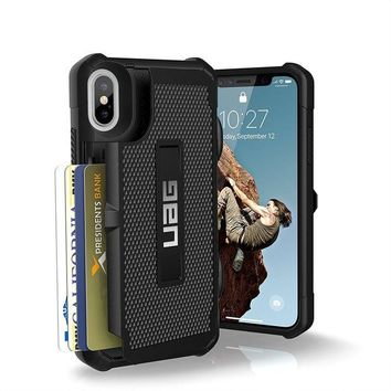 DCCKRQ5 UAG iPhone X Trooper Feather-Light Rugged Card Case [BLACK] Military Drop Tested iPhone Case