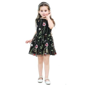 Boutique Flower Embroidery Baby Girls Dress Summer Children's Clothing Little Girls V-Neck Dresses for Wedding Party Kid Costume
