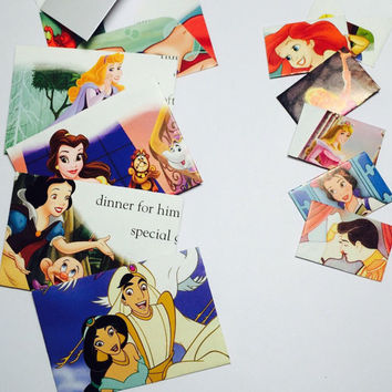 Small Disney princess envelopes with cards (50) - choose your size!