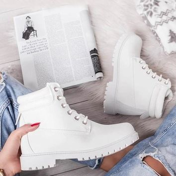 New White Round Toe Chunky Cross Strap Fashion Ankle Boots