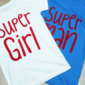 SUPERMAN / SUPERGIRL Couple T Shirts flocked print silk screen 2 pcs. for men&women