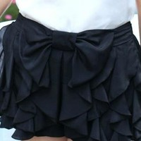 Ruffles Shorts With Bow Tie In Black from Bblythe