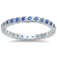 .925 Sterling Silver Blue Sapphire Eternity Ring Ladies and Kids Size 4-10 Infinity Birthstone Midi Thumb