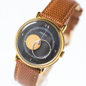 Copernicus wristwatch unisex, men's watch gold plated, modern black face tomboy watch Russian, Moon watch unisex, premium leather strap new