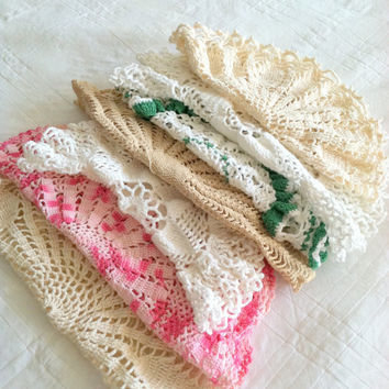 Set of 7 - Mid Century Hand Crochet Doilies/Table Cover/Cottage Style/Farmhouse Decor - Ca. 1950's