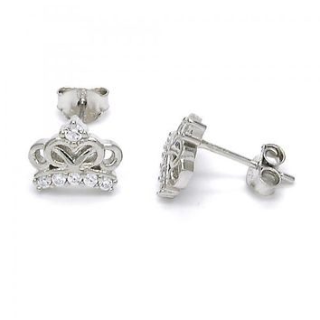 Sterling Silver 02.285.0044 Stud Earring, Crown Design, with White Cubic Zirconia, Polished Finish,
