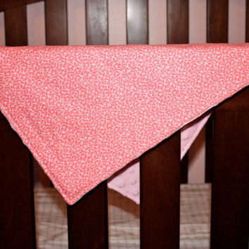 Mini Minky Snuggle Blanket in Pink Swirl, Security Blanket for Baby or Toddler