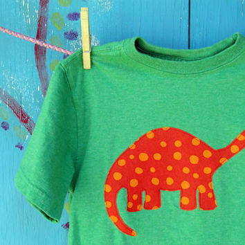 Dinosaur Appliqued Tshirt Green Shortsleeve Boy's by OddEDesigns