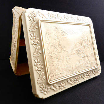 Celluloid Asian Jewelry Box  Vintage Large Ivory by MaejeanVINTAGE