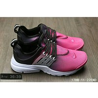 Nike Air Presto casual men and women sports running tide shoes F-HAOXIE-ADXJ Black + rose red toe