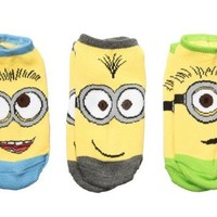 Despicable Me 2 Minions Full Face Youth No Show Socks - 3 Pack