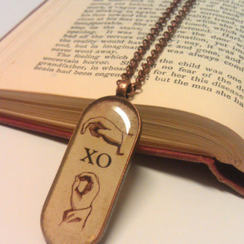 XO Necklace, Hugs & Kisses, Love Necklace, Copper Photo Jewelry, Art Pendant, Sign Language, Rustic Vintage Style