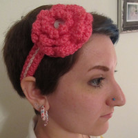 Headband - Pink Crochet Flower with Iridescent Button - OOAK Headband, adult headband