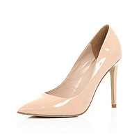 River Island Womens Nude patent leather court heels
