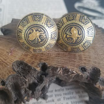 Damascene made in Toledo Spain lion screw back button vintage earrings